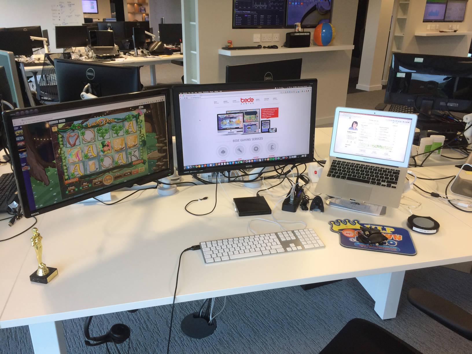 My desk at Bede Gaming.