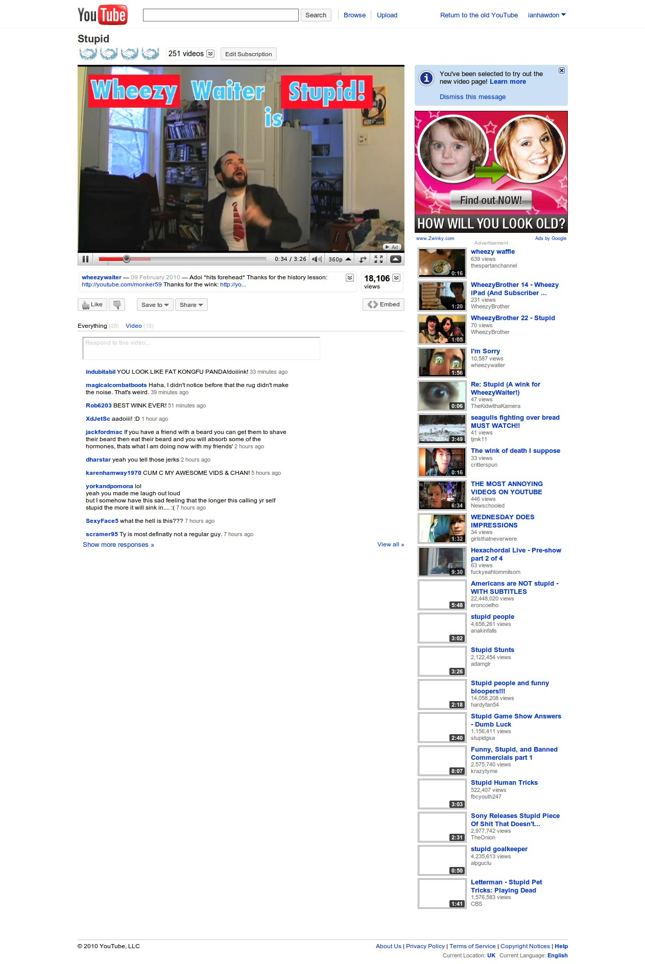A look at the new youtube video page