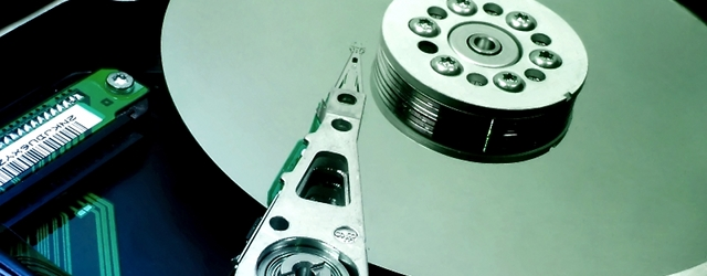 A hard drive arm and platter