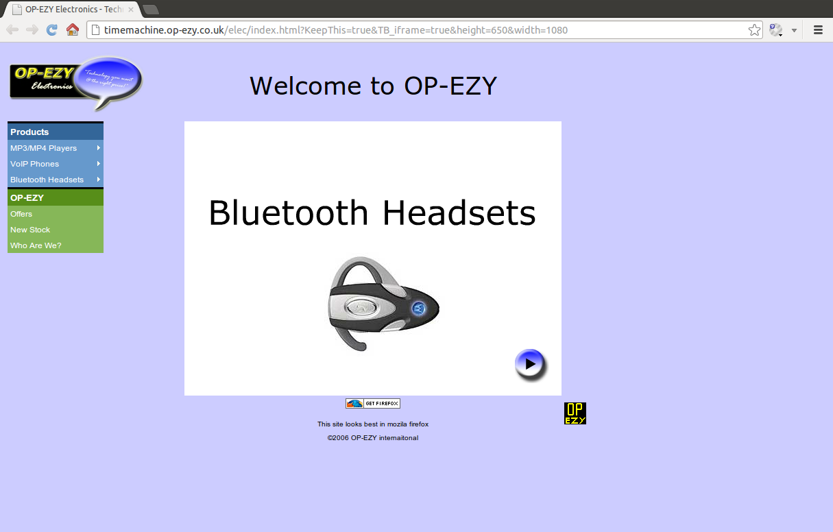 Bluetooth headsets shown on the OP-EZY Electronics website