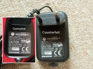 A genuine example on the left and the counterfeit on the right