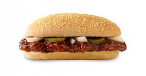 The McRib sandwich, photo courtesy of McDonalds UK