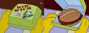 The Ribwich, a parody of the McRib on The Simpsons - Image Copyright Fox