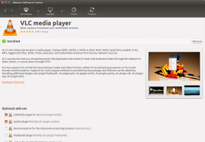 The Ubuntu Software Centre showing VLC Media player