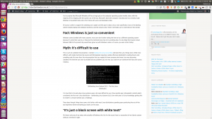 A screenshot of my Linux system sporting a GUI, previewing this post using the Google Chrome browser.