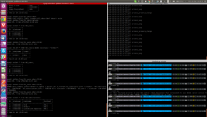Some early debugging of Toonbot, with MariaDB (MySQL), log file outputs and python-rtmbot running in a terminal.