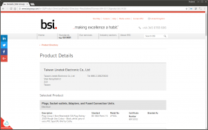 The BSI website showing the Linetek product.