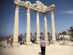 Hayley standing in the temple of Apollo at Side.