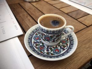 A close up of a Turkish coffee.